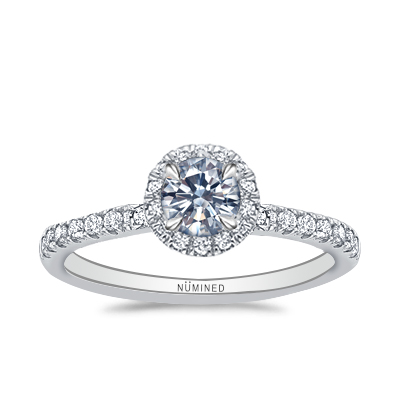 Zoe Halo French Split Pave Engagement Ring