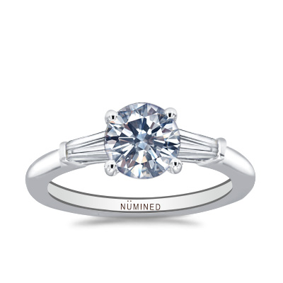 Ameena Tapered Baguette Three Stone Engagement Ring