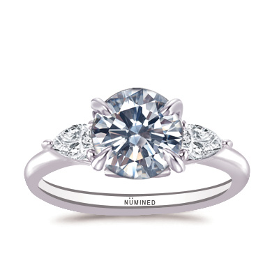 Aria Floral Inspired Three Stone Engagement Ring