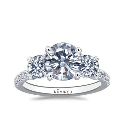 Luciea Classic Three Stone Pave Engagement Ring
