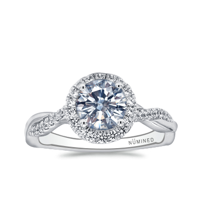 Teharie Halo Pave Twist Open Gallery Engagement Ring