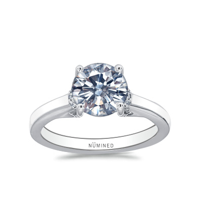 Quin Floating Profile Diamond Accented Engagement Ring
