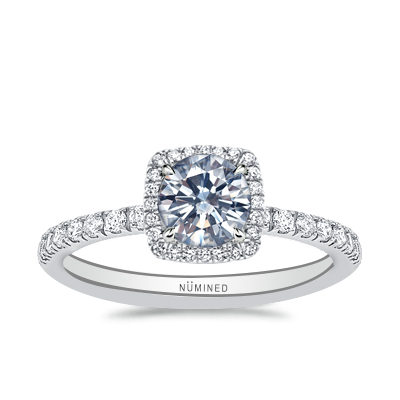 Therese Cushion Shaped Halo Open Gallery Pave Engagement Ring