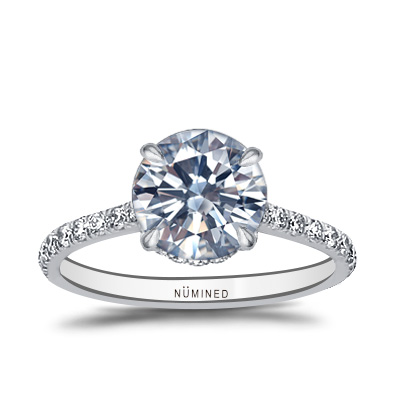 Katrina Double Hidden Halo French Pave Floating Profile Engagement Ring