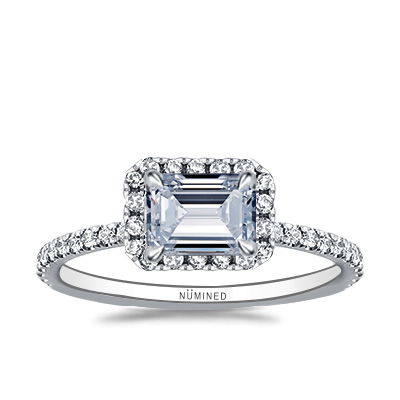 Blair East West Halo Pave Open Gallery Engagement Ring