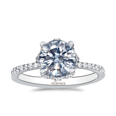 Camellia Floral Halo Pave Engagement Ring