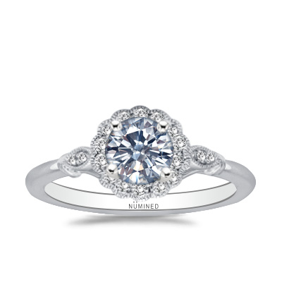 Lauryn Vintage Inspired Floral Halo Engagement Ring