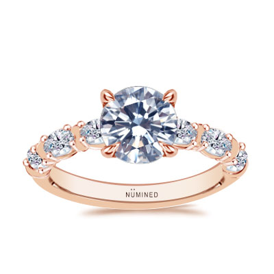 Odessa Oval Diamond Band Vintage Inspired Engagement Ring