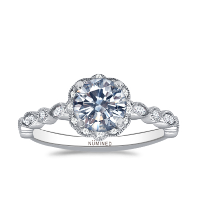 Yardin Halo Vintage Inspired Diamond Accent Open Gallery Engagement Ring