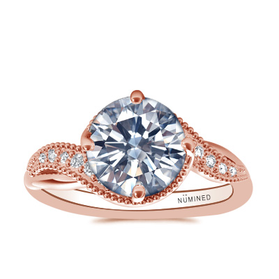 Mia Compass Set Diamond Accented Engagement ring