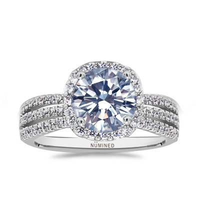 Trinity Triple Split Shank Pave Halo Engagement Ring