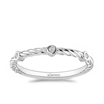 Diamond Accented Rope Ring 0.02 ctw