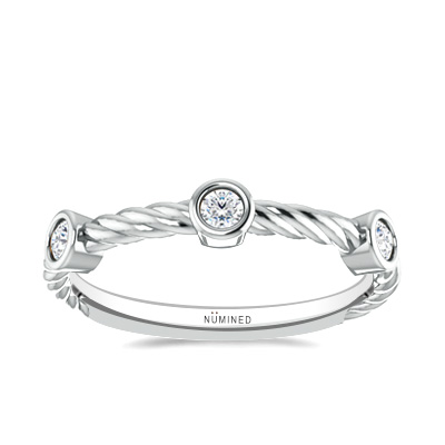 Diamond Accented Rope Ring 0.15 CTW