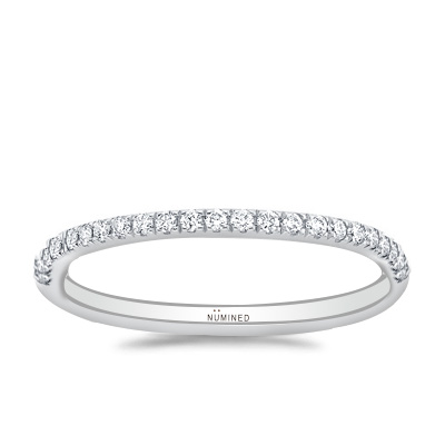 French Split Prong Scalloped Pave Diamond Band 0.30 ctw