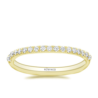 French Split Prong Scalloped Pave Diamond Band 0.35 ctw