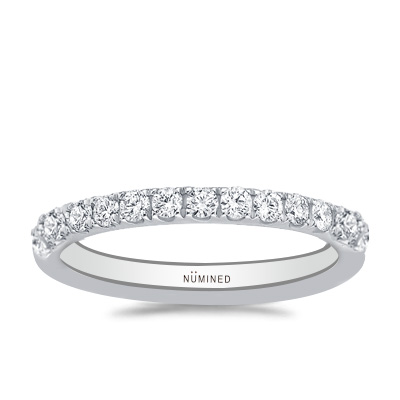 French Split Prong Scalloped Pave Diamond Band 0.40 ctw